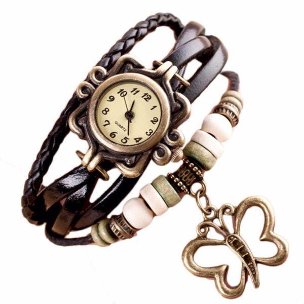 Dámské vícevrstvé hodinky s motýlem