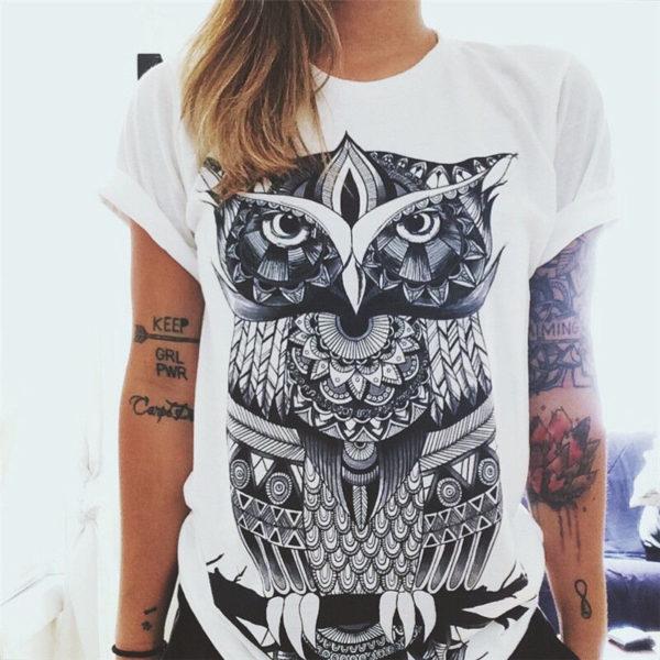 Dámské tričko s velkým potiskem sovy  a1d6736d6d