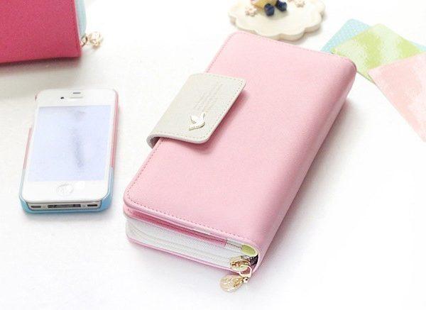 Luxusní velká praktická peněženka - světle růžová