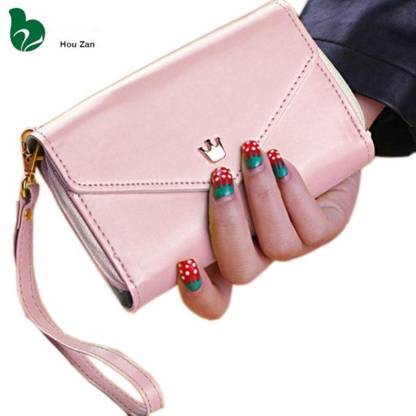 Menší dámská peněženka s úschovnou mobilu - světle růžová