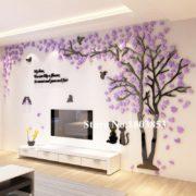 Vystouplá samolepka na zeď s 3D efektem - Strom - 200 x 112 cm - fialová