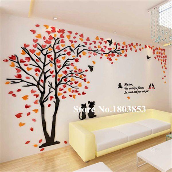 Vystouplá samolepka na zeď s 3D efektem - Strom - 200 x 112 cm - červená