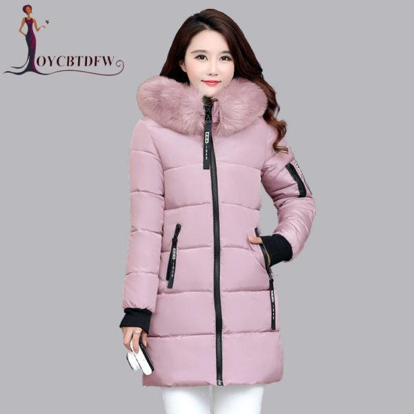 Dámská dlouhá bunda s kapucí - růžová