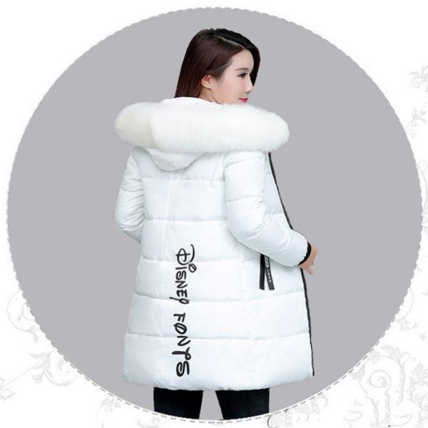 Dámská dlouhá bunda s kapucí - bílá