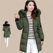 Dámská dlouhá bunda s kapucí - tmavě zelená