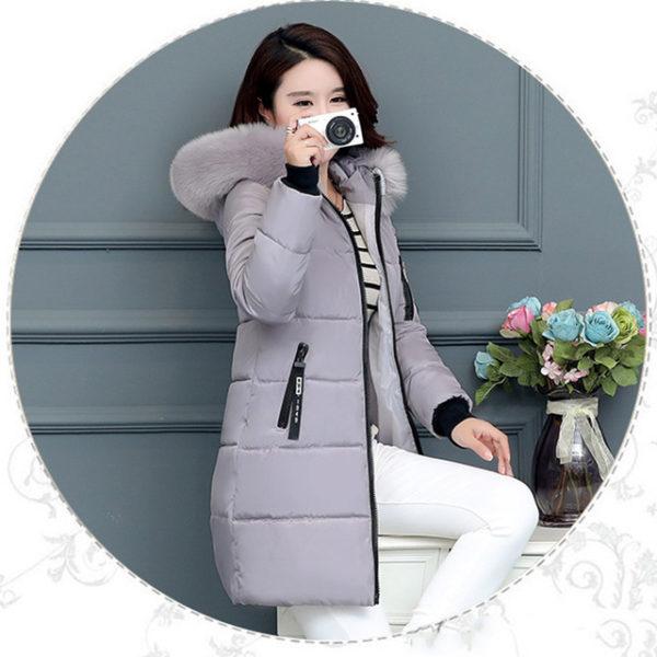Dámská dlouhá bunda s kapucí - šedá