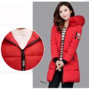 Dámská dlouhá bunda s kapucí - červená