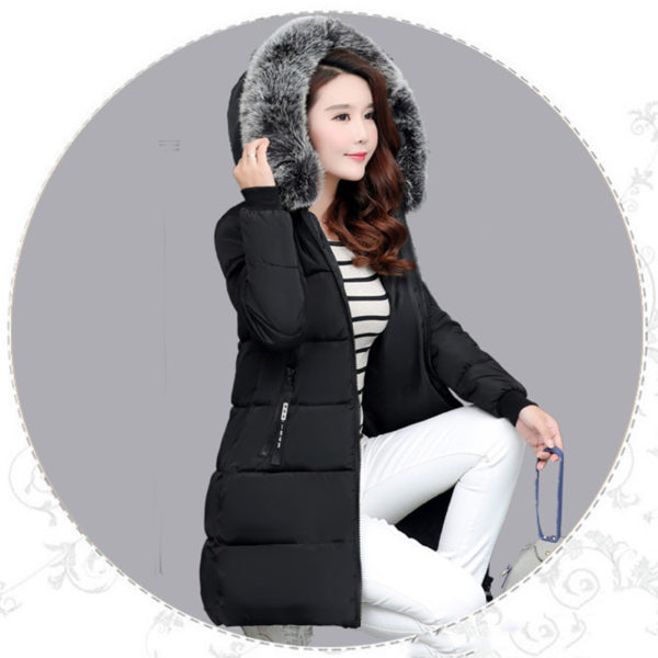 Dámská dlouhá bunda s kapucí - černá