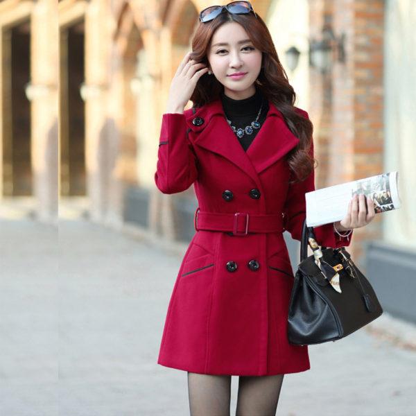 Elegantní dámský kabát - vínová a0f5af408e