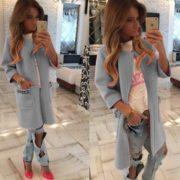 Luxusní dámský kabát - šedá