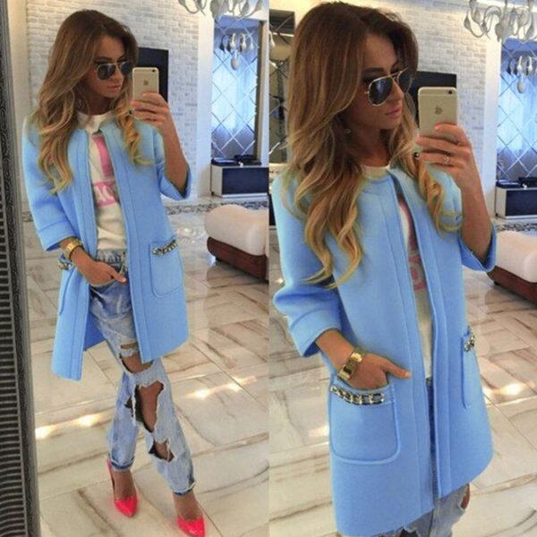 Luxusní dámský kabát - modrá