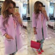 Luxusní dámský kabát - fialová