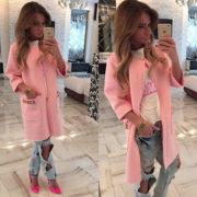 Luxusní dámský kabát - růžová