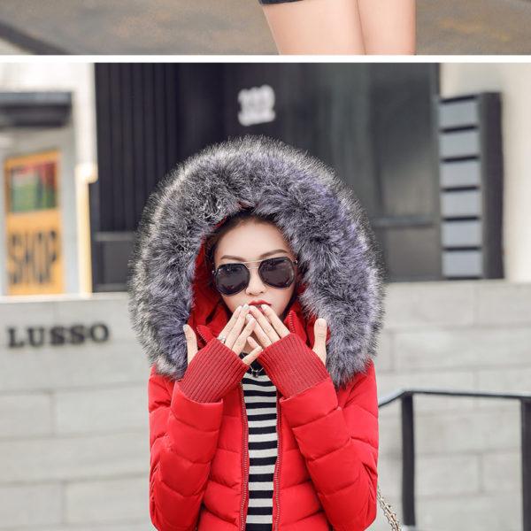 Dámská zimní bunda s kožichem - červená