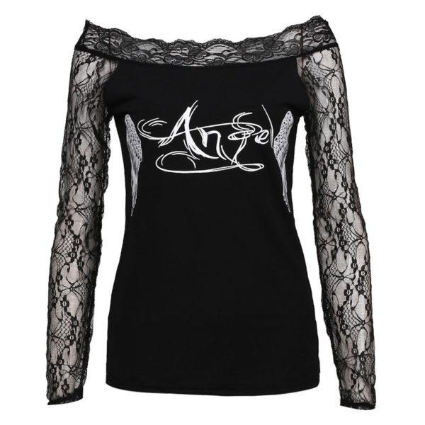 Dámské průhledné tričko s potiskem andělských křídel - černé