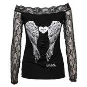Dámské průhledné tričko s potiskem andělských křídel - černé - záda