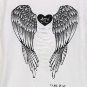 Dámské průhledné tričko s potiskem andělských křídel - bílé 2