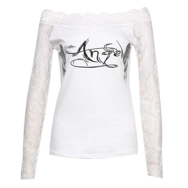 Dámské průhledné tričko s potiskem andělských křídel - bílé