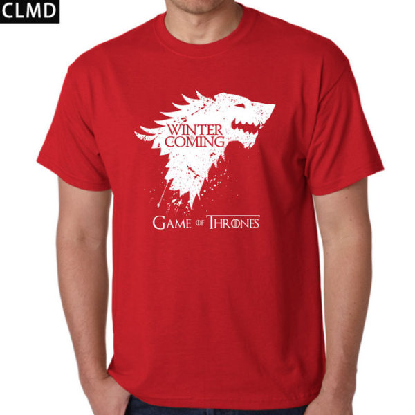 Pánské tričko Game of Thrones s nápisem Winter is Coming - červená