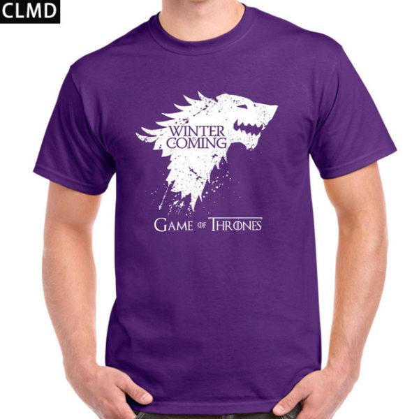 Pánské tričko Game of Thrones s nápisem Winter is Coming - fialová