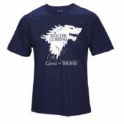 Pánské tričko Game of Thrones s nápisem Winter is Coming - tmavě modrá