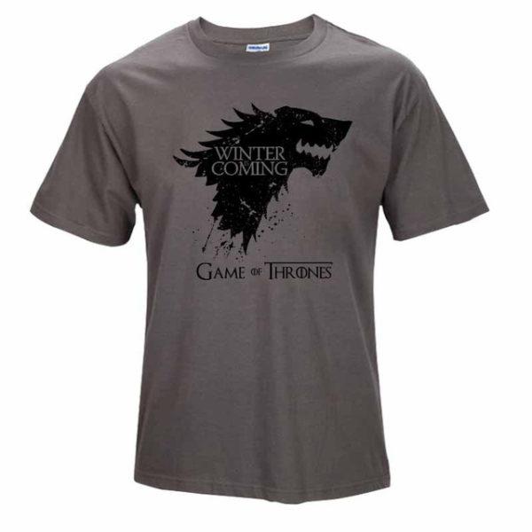 Pánské tričko Game of Thrones s nápisem Winter is Coming - Tmavě šedá