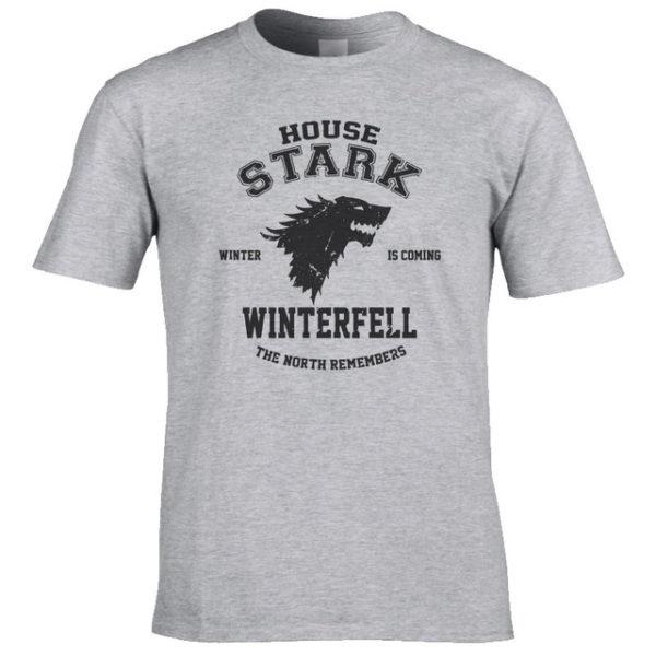 Pánské tričko Game of Thrones s nadpisem House Stark - šedá