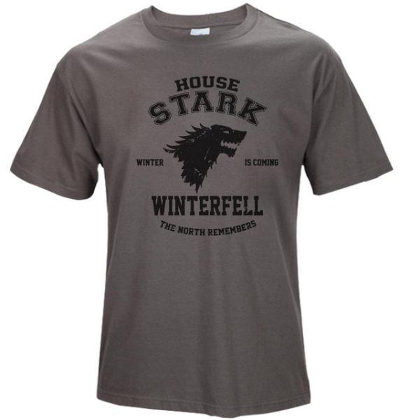 Pánské tričko Game of Thrones s nadpisem House Stark - tmavě šedá