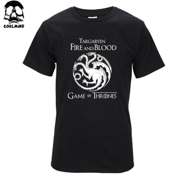 Pánské tričko Game of Thrones s potiskem Fire and Blood - černá