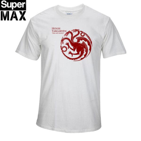 Pánské tričko Game of Thrones s potiskem Fire and Blood - bílá