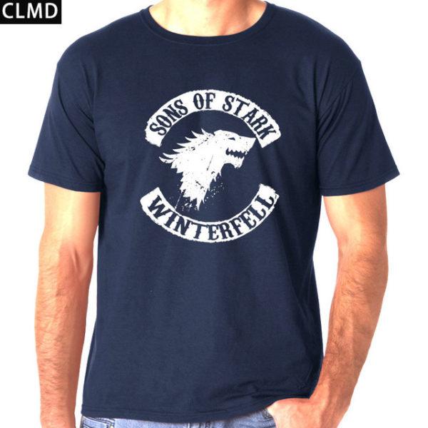 Pánské tričko Game of Thrones s potiskem Sons of Stark - tmavě modrá