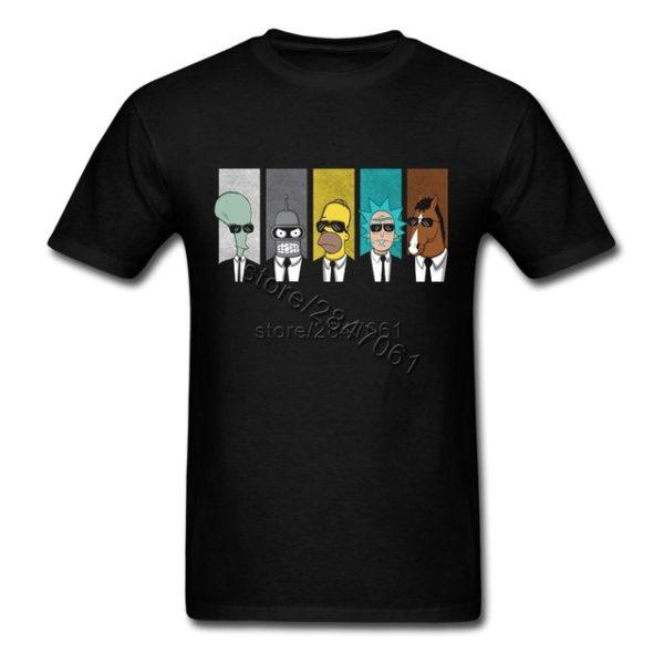Pánské tričko s Homerem a Benderem - černá
