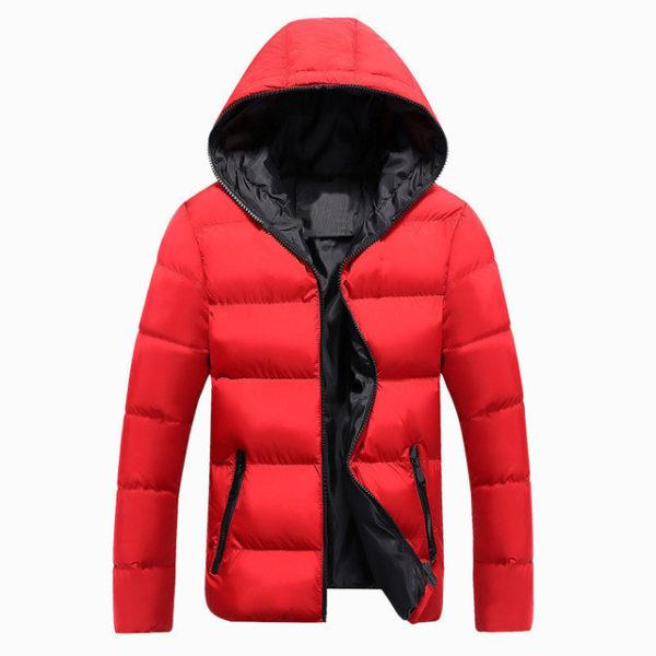 Pánská zimní bunda s kapucí - červená cae2b8c7a9c