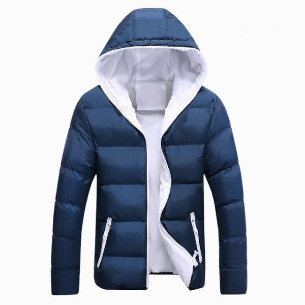 ... Pánská zimní bunda s kapucí - modrá c3cf957bcf2