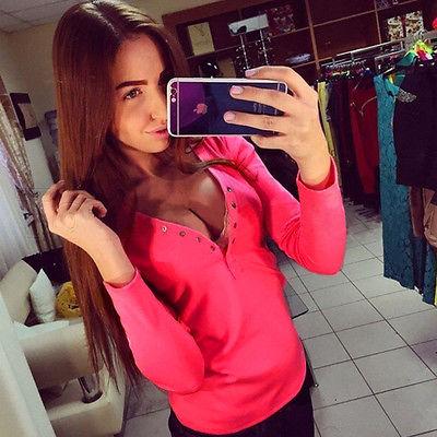 Dámské tričko s výstřihem na zapínání - růžová