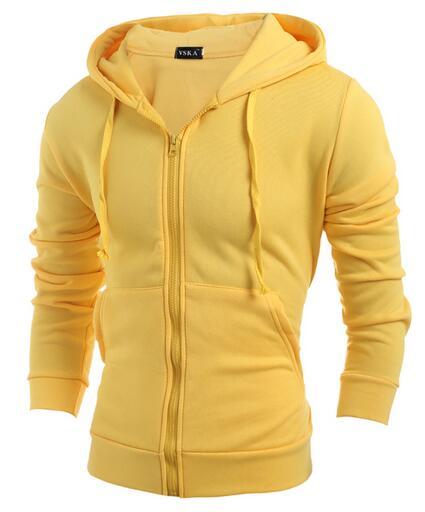 Pánská mikina s kapucí na zip - žlutá