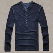 Pánské tričko se zapínáním na knoflíky - modrá