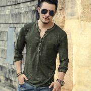 Pánské tričko se zapínáním na knoflíky - zelená