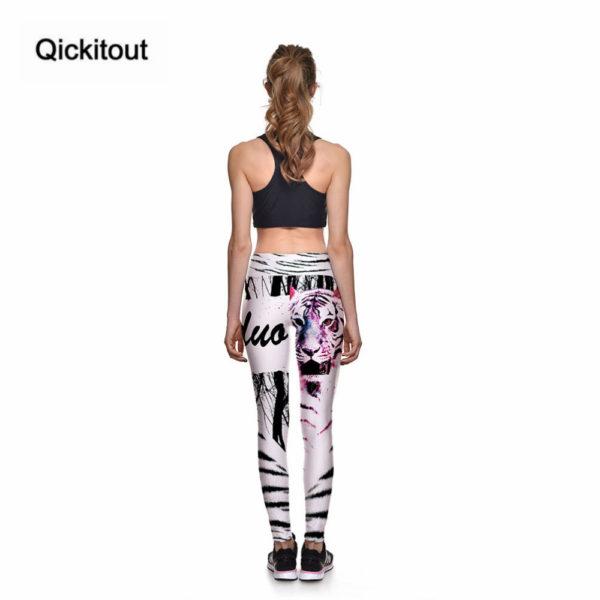 Fitness legíny se vzorem - bílý tygr 4