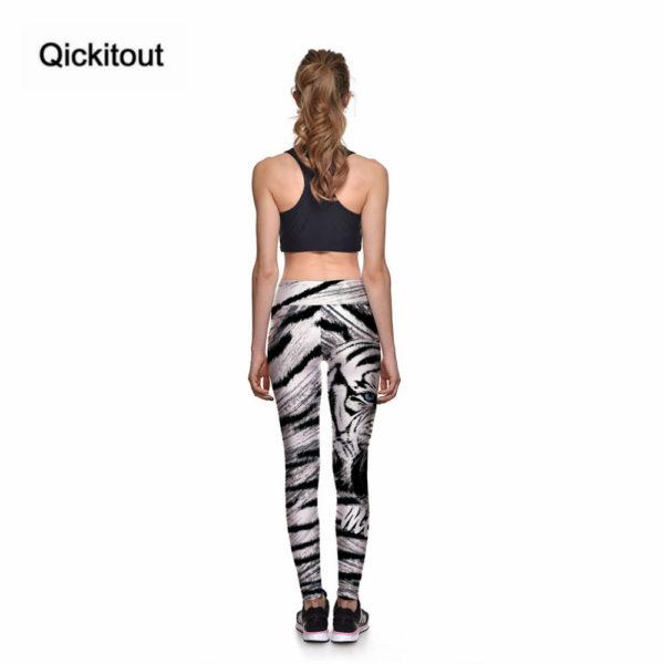 Fitness legíny se vzorem - bílý tygr 5