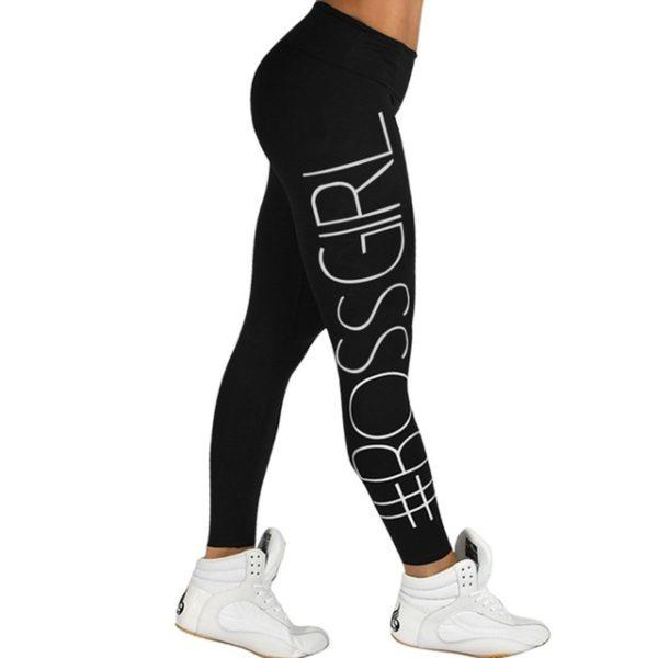 Workout fitness legíny s velkým nápisem - černá