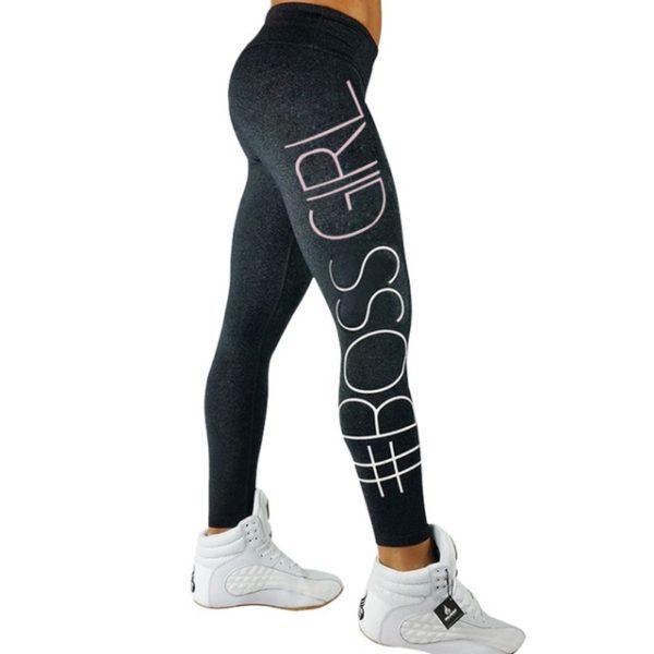 Workout fitness legíny s velkým nápisem - zmavě šedá